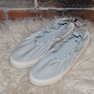 NWT Zara Light Pale Blue Faux Leather Sneakers 6.5